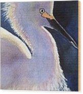 Sunlit Egret Wood Print