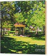 Sunlit Gazebo Wood Print