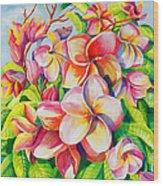 Sunlit Plumeria Wood Print