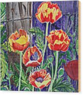 Sunlit Poppies Wood Print
