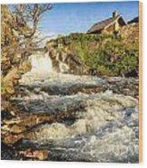 Sunlit Rapids In Glacier Wood Print