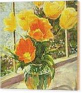 Sunlit Tulips Wood Print