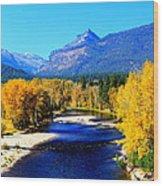 Sunny Autumn Day On A Montana River Wood Print