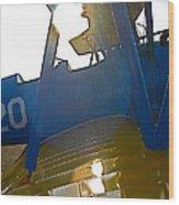 Sunny Biplane Wood Print