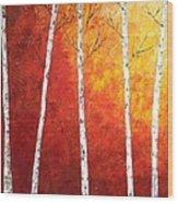 Sunset Birches Wood Print