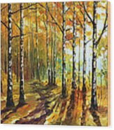 Sunny Birches - Palette Knife Oil Painting On Canvas By Leonid Afremov Wood Print