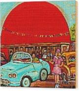 Sunny Day At The Big Orange Julep  Montreal Road Side Diner Carole Spandau Wood Print