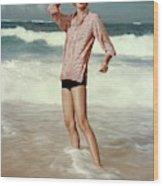 Sunny Harnett On A Beach Wood Print
