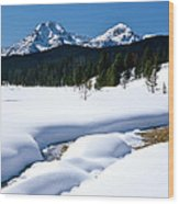 Sunny January Day Sawtooth Mountains Wood Print