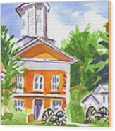 Sunny Morning On The City Square Wood Print