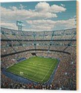 Sunny Soccer Stadium Panorama Wood Print