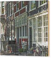 Sunny Street In Amsterdam Wood Print