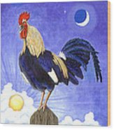 Sunny The Rooster Wood Print