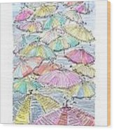 Sunny Umbrelas Wood Print