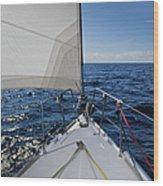 Sunny Yacht Bow Wood Print