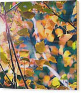 Sunny Yellow Leaves Wood Print