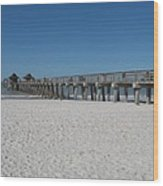 Sunny Day At Naples Pier Wood Print