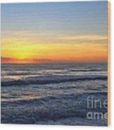 Sunrise And Waves Wood Print