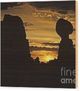 Sunrise Arches National Park With Balanced Rock Silhouetted Agai Wood Print