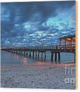 Sunrise At Anglin's Fishing Pier Wood Print
