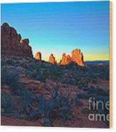 Sunrise At Arches National Park Wood Print