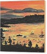 Sunrise At Bar Harbor Maine Wood Print