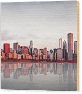 Sunrise At Chicago Wood Print