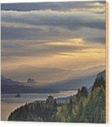 Sunrise At Columbia River Gorge Wood Print
