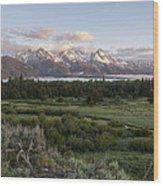 Sunrise At Grand Teton Wood Print