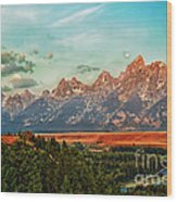 Sunrise At Grand Tetons Wood Print