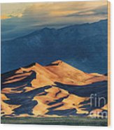 Sunrise At Great Sand Dunes Wood Print