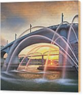 Sunrise At John Ross Landing Fountain Wood Print by Steven Llorca
