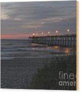 Sunrise At Kure Pier Wood Print
