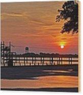 Sunrise At Lake Shelby Wood Print