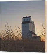 Grain Elevator At Sunrise Wood Print
