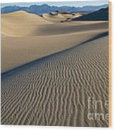 Sunrise At Mesquite Flat Sand Dunes Wood Print