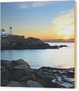 Sunrise At Nubble Wood Print by Andrea Galiffi
