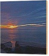 Sunrise At Otter Cliffs Wood Print