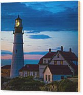 Sunrise At Portland Head Lighthouse Wood Print by Diane Diederich