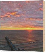 Sunrise At Saltburn Pier And Seafront Portrait Wood Print