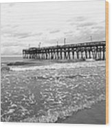 Sunrise At Surfside Bw Wood Print