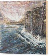 Sunrise At Tal-gurdan Cliffs Wood Print by Marco Macelli