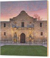 Sunrise At The Alamo San Antonio Texas 1 Wood Print