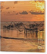 Sunrise At The Fishing Village Wood Print
