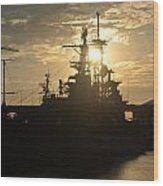 Sunrise At The Naval Base Silhouette Erie Basin Marina V1 Wood Print