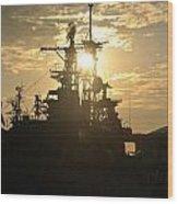 Sunrise At The Naval Base Silhouette Erie Basin Marina V2 Wood Print