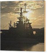 Sunrise At The Naval Base Silhouette Erie Basin Marina V3 Wood Print