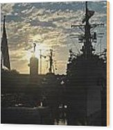 Sunrise At The Naval Base Silhouette Erie Basin Marina V5 Wood Print