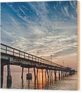 Sunrise At The Pier Wood Print