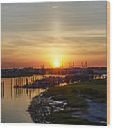 Sunrise At Two Mile Inlet - Wildwood Crest Wood Print